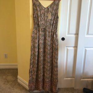 Lucky Brand XL Linen Like Floral Maxi Dress